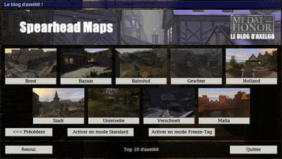 Menu Top 10 d'axel68   Maps Spearhead